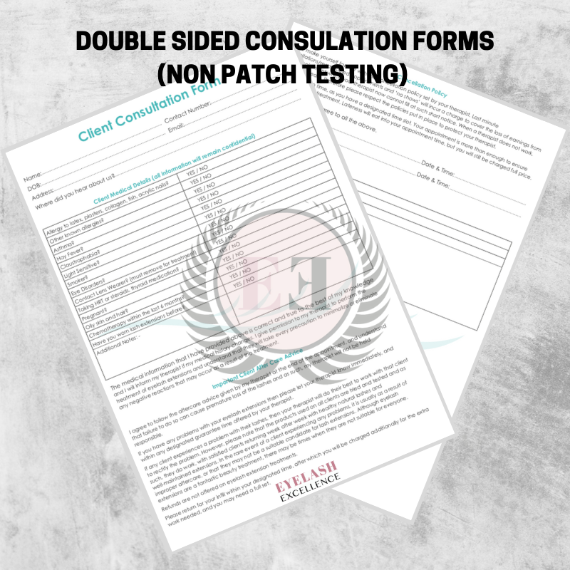 1651be3edec Client Consultation Forms - Double sided (NON patch testing ...
