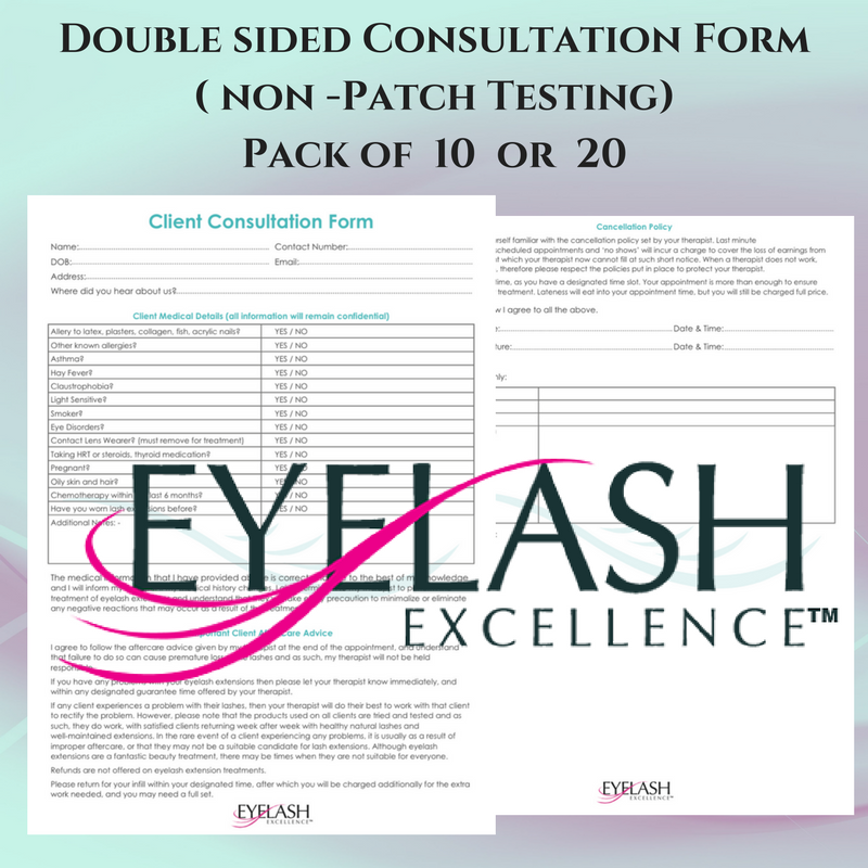 Client Consultation Forms - Double sided (NON patch testing ...