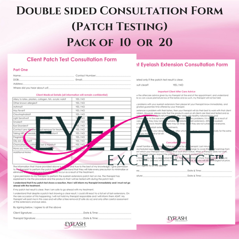 Client Consultation Forms Double sided Patch testing Eyelash – Medical Consultation Form